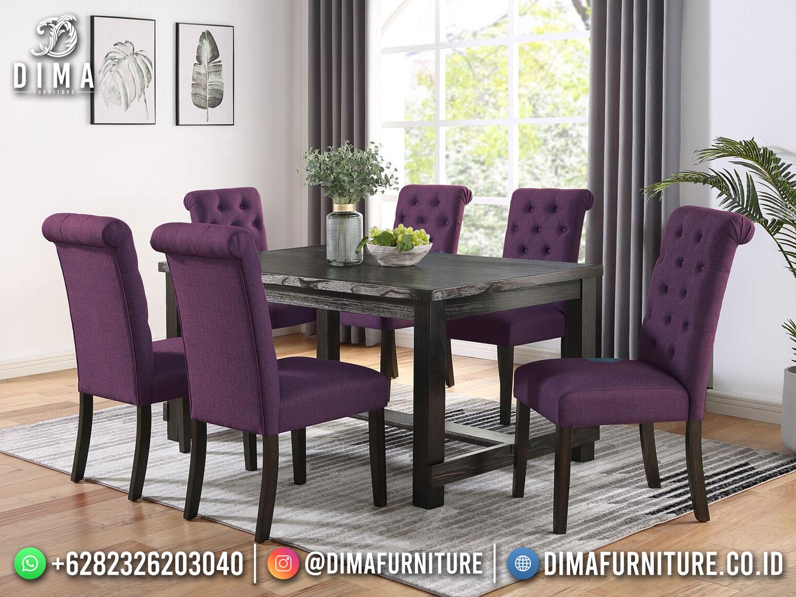 New Meja Makan Minimalis Jati Violet Upholstery Natural Dark Brown Rustic TTJ-1748