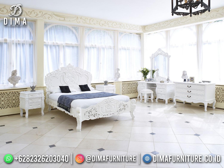 Tempat Tidur Mewah Putih Luxurious Carving Awe-Inspiring TTJ-1775
