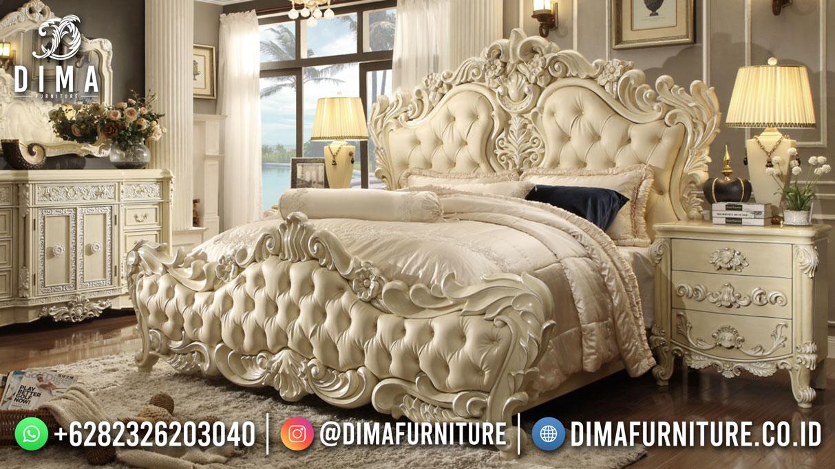Jual Tempat Tidur Ukiran Mewah Glamorous White Carving TTJ-1815