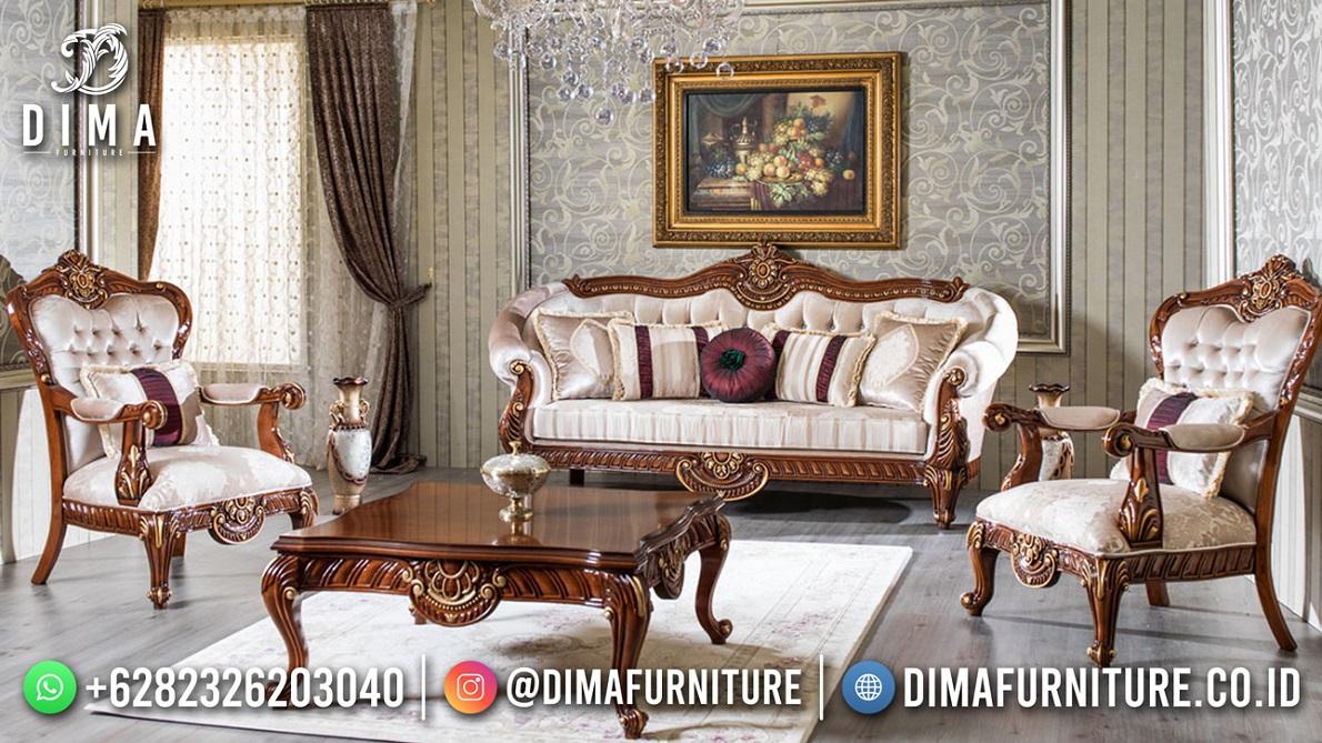 New Design Sofa Tamu Jati Ukiran Klasik Furniture Jepara TTJ-1854