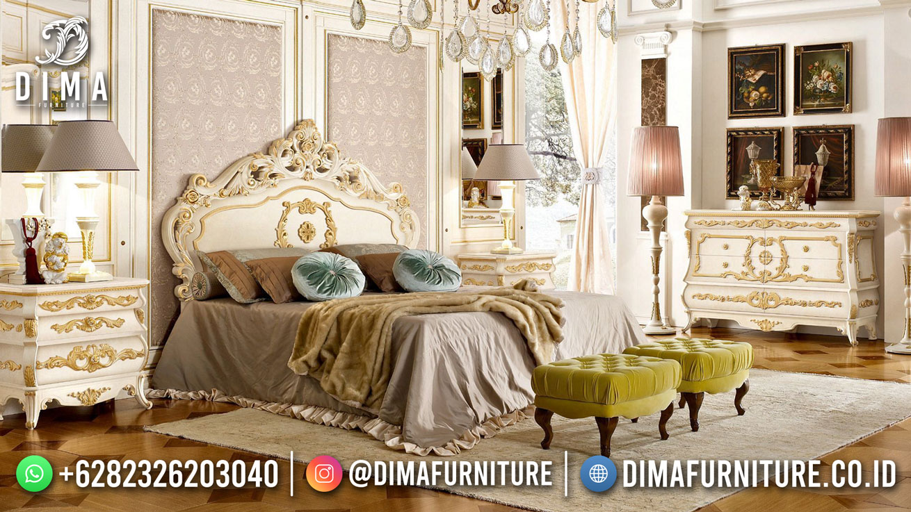 New Kamar Tidur Mewah Duco White With Gold Combination TTJ-1831