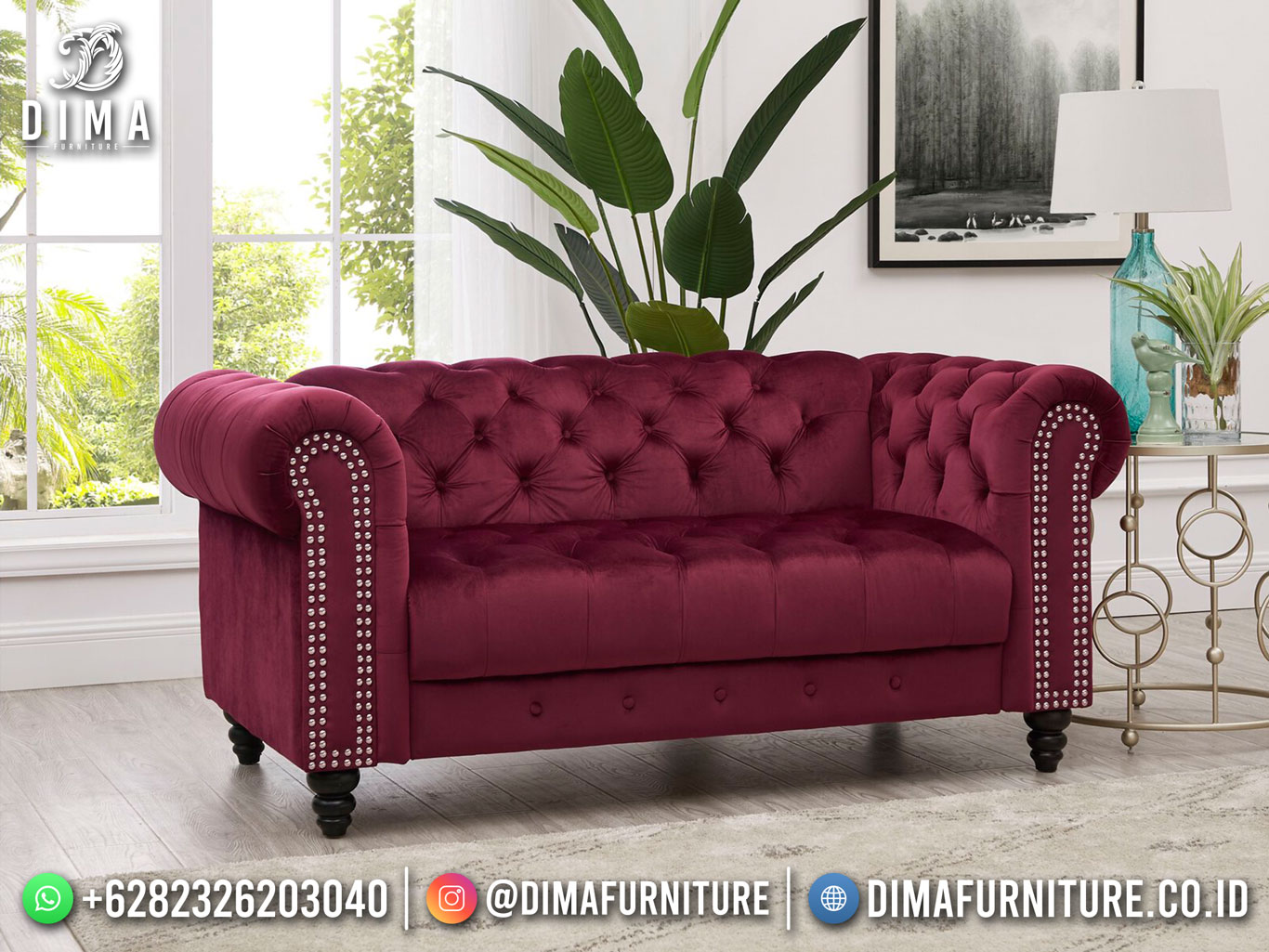 Palazzo 2 Seater Sofa Minimalis Beauty Magenta Good Quality TTJ-1794