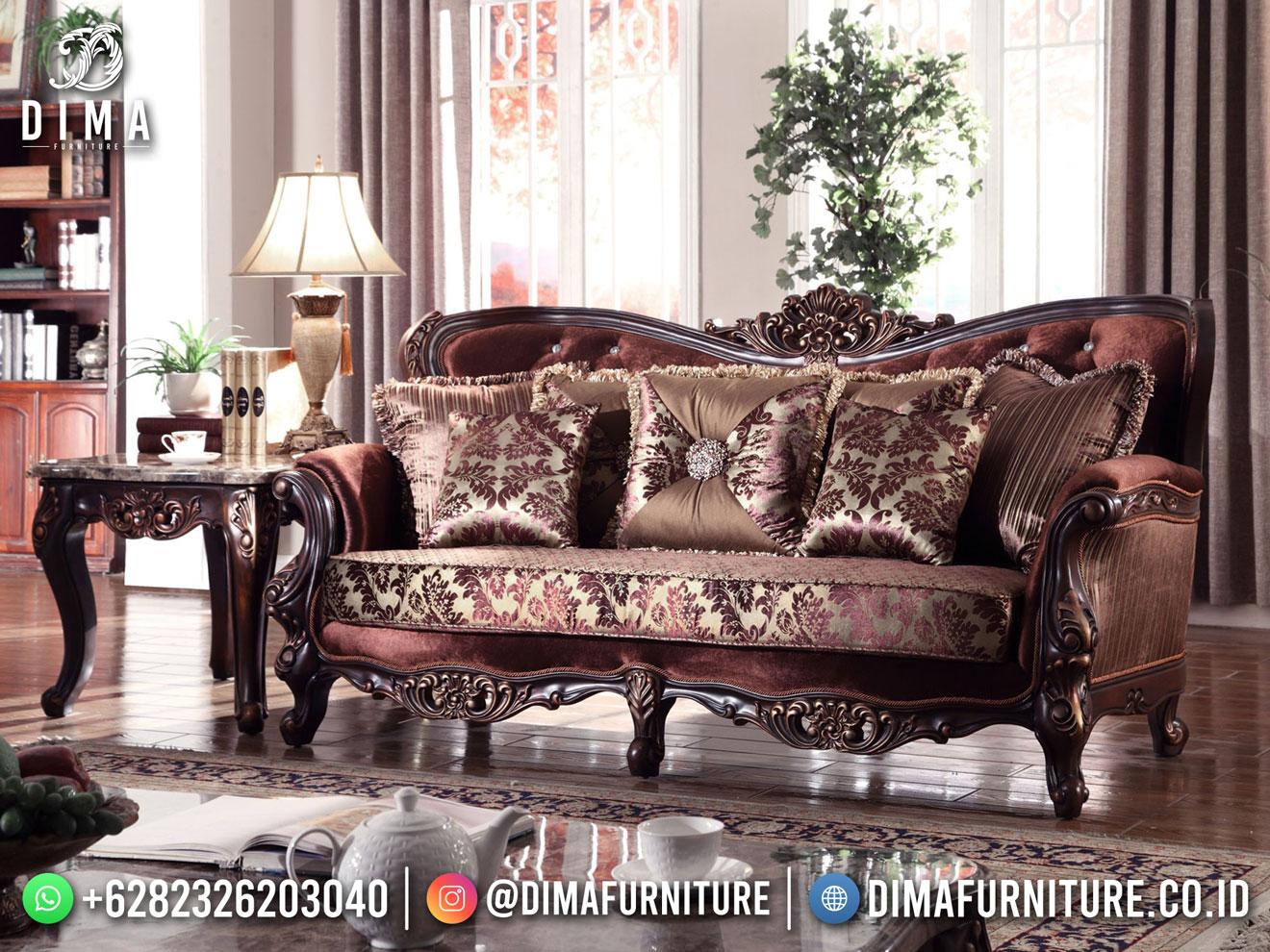 Sofa Tamu Jati Jepara Natural Beauty Carving Elegant Design TTJ-1804