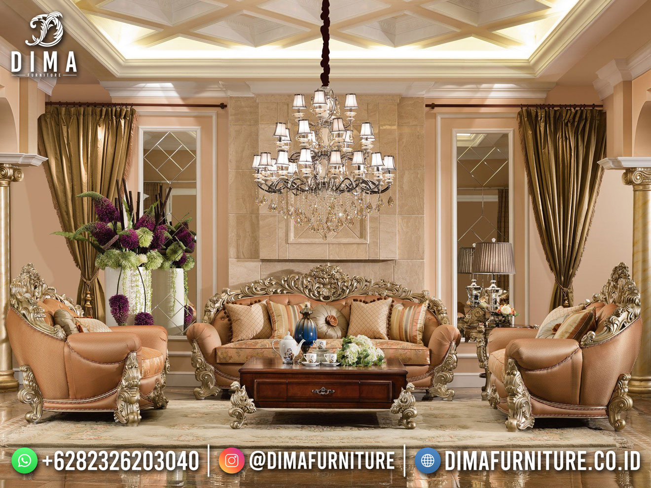 Sofa Tamu Mewah Ukir Luxury Design Furniture Jepara TTJ-1801