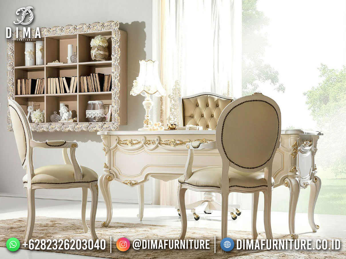 Beauty Design Meja Kantor Jepara Carving Excelent Furniture Shabby TTJ-1889
