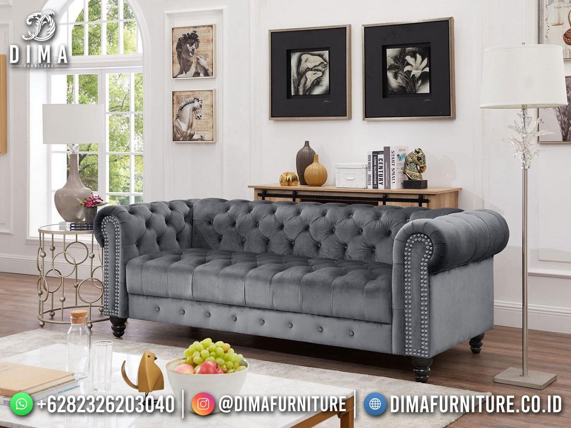 Chesterfield Style Sofa Tamu Minimalis Mewah Jepara Elegant Gray TTJ-1914
