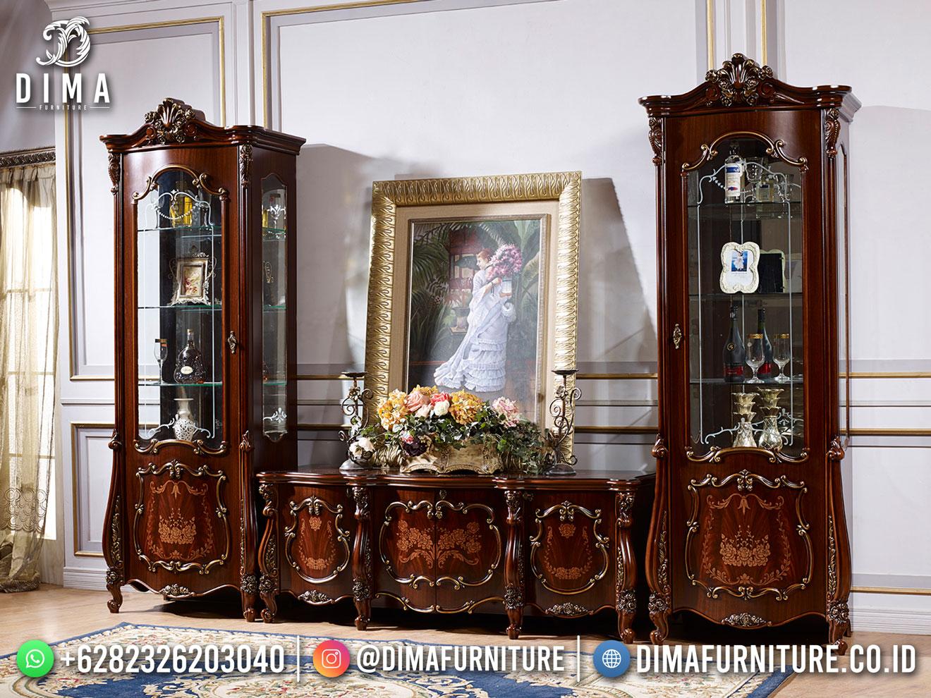 Luxury Elegant Bufet TV Jati Terbaru Ukiran Mewah Jepara TTJ-1859