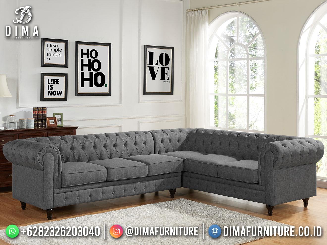 Model Kursi Sofa Sudut Chesterfield Classy Grey Best Furniture TTJ-1907