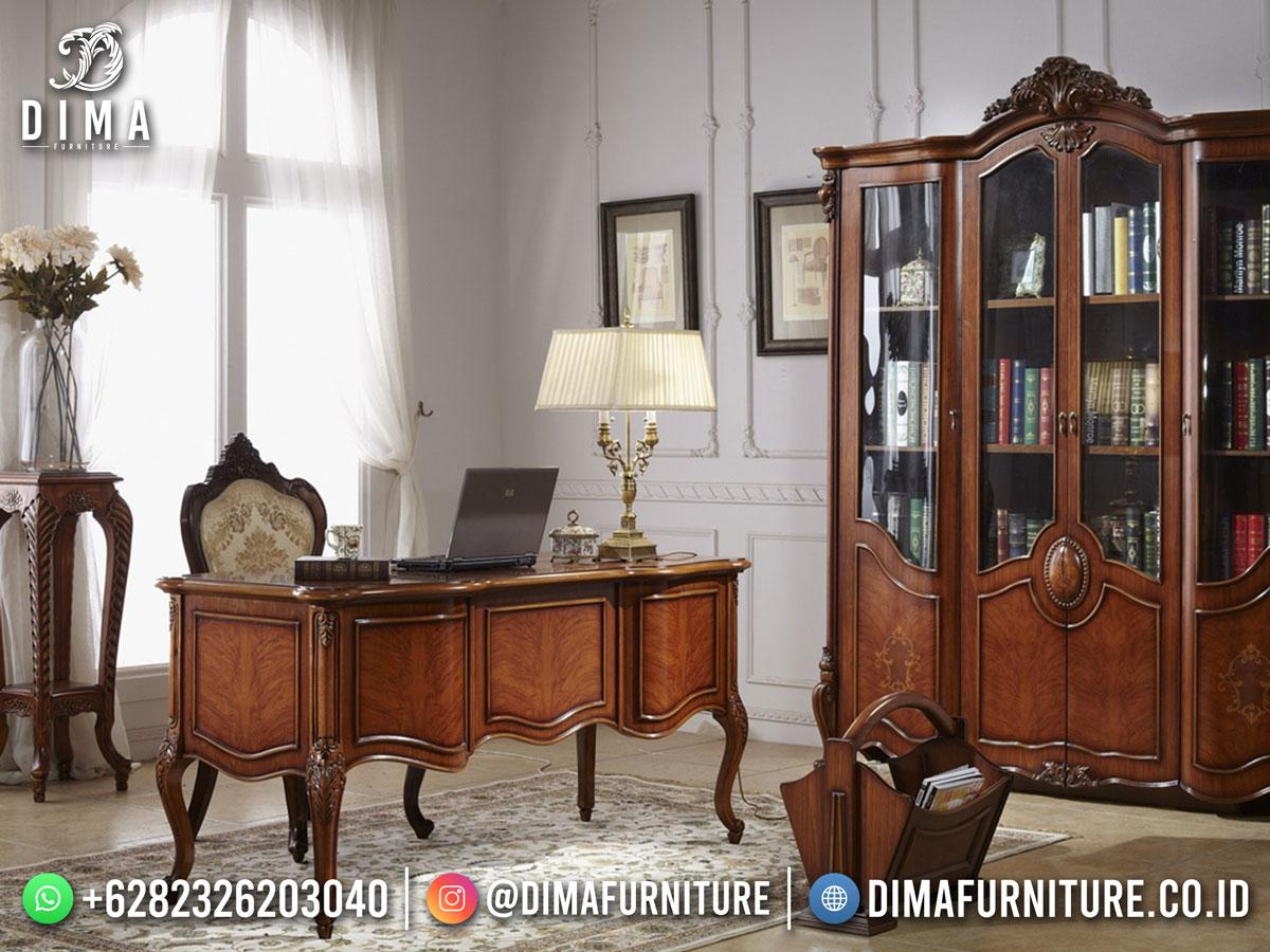 Set Meja Kantor Terbaru Jepara Jati Klasik Desain Minimalis TTJ-1887