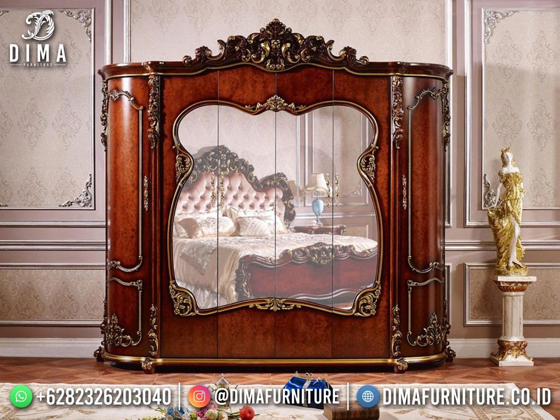 Desain Lemari Pakaian Cermin Mewah Mahkota Ukir Classic Jepara TTJ-1965