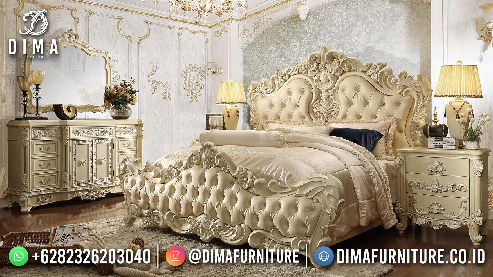 Super Mewah Set Tempat Tidur Jepara Full Ukiran Klasik Mewah White Duco TTJ-2006